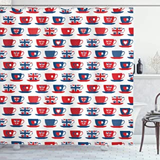 Ambesonne Tea Party Shower Curtain, Britain Themed Teacup Forms Patterned Union Jack Hearts Flags, Cloth Fabric Bathroom Decor Set with Hooks, 70