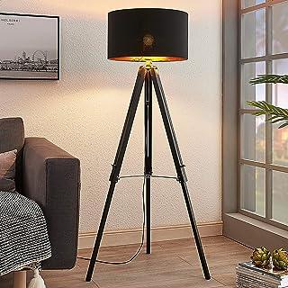 Lámpara de pie 'Triac' (Escandinavo) en Negro hecho de Madera e.o. para Salón & Comedor (1 llama, E27, A++) de Lindby | lámpara de pie de madera