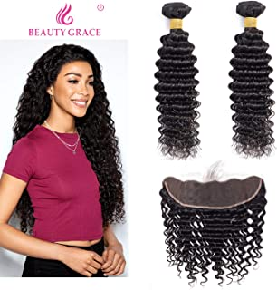 Deep Wave Human Hair 2 Bundles With Frontal (16 18+14 Frontal) 13x4 Lace Frontal with Bundles 100% Unprocessed Virgin Hair Extensions Natural Color (16 18+14 Frontal)