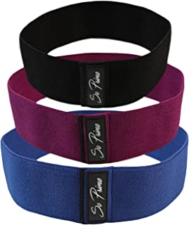 So Prime Booty Resistance Bands - Glute Strengthening Exercise for Women and Men - Elastic Non Slip Loop with a Low, Medium, and Heavy Fabric Band - Set of 3 - with Workout Book & Carry Bag