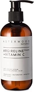 ARGIRELINE Peptide + Vitamin C 8 oz Serum with Organic Hyaluronic Acid, Anti Aging, Amazing Sun Damage Repair and Botox Alternative ASTERWOOD NATURALS Pump Bottle