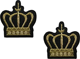2 pieces GOLD CROWN Iron On Patch Embroidered Motif Biker Applique Heraldic Insignia Badge Decal 2.1 x 1.9 inches (5.4 x 4.9 cm)