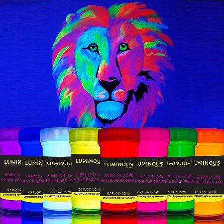 Individuall - Pintura fluorescente luminosa 2 en 1 que brilla en la oscuridad y UV negro - Juego de 8 pinturas de neón autoluminosas y fluorescentes - ...