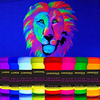 Luminous 2-in-1 Glow in The Dark & UV Black Light Paint - Set of 8 Self-Luminous & Fluorescent Neon Paints – Phosphorescent Paint – Glowing Neon Paint by individuall