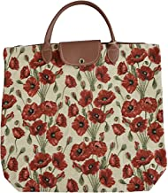 Signare Tapestry Red and White Fold-able Reusable Grocery Shopping Bag with Poppy Flower (FDAW-POP)