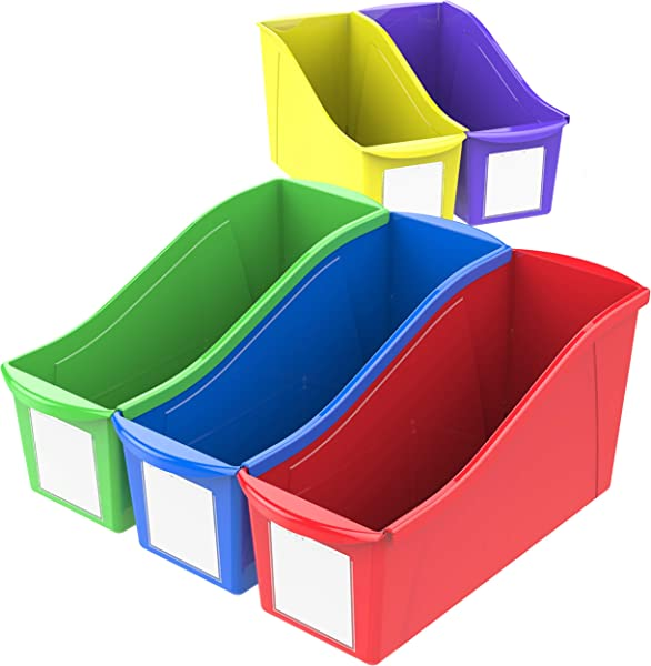 Storex Large Book Bins 14 3 X 5 3 X 7 1 Inches Assorted Colors 30 Pack