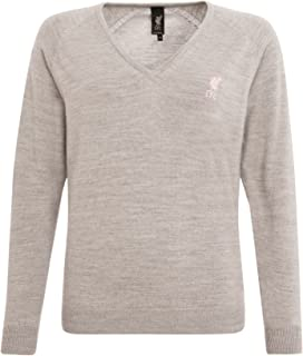 Liverpool FC Signature Grey Ladies V Neck Jumper Pullover LFC Official Store