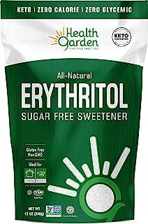 Health Garden Erythritol Sweetener - Non GMO - Gluten Free - Sugar Substitute - Keto Friendly - Tastes Like Sugar (12 oz)