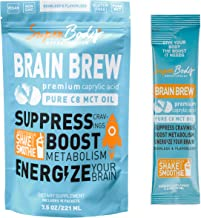 Premium C8 MCT Oil Travel Size Single Serve Brain Brew (30 Servings) 100% Caprylic Acid. No Spills. Perfect Way to Have a Focused and Clear Mind. Fat Burning Energy Without the Crash. Best MCT Oil.