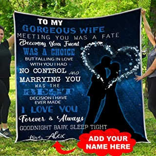 To My Gorgeous Wife I Love You Quilt Pattern Blanket Comforters with Reversible Cotton King Queen Full Twin Size Quilted Romantic Gifts Birthday Wedding Anniversary Presents for Wife from Husband Kids
