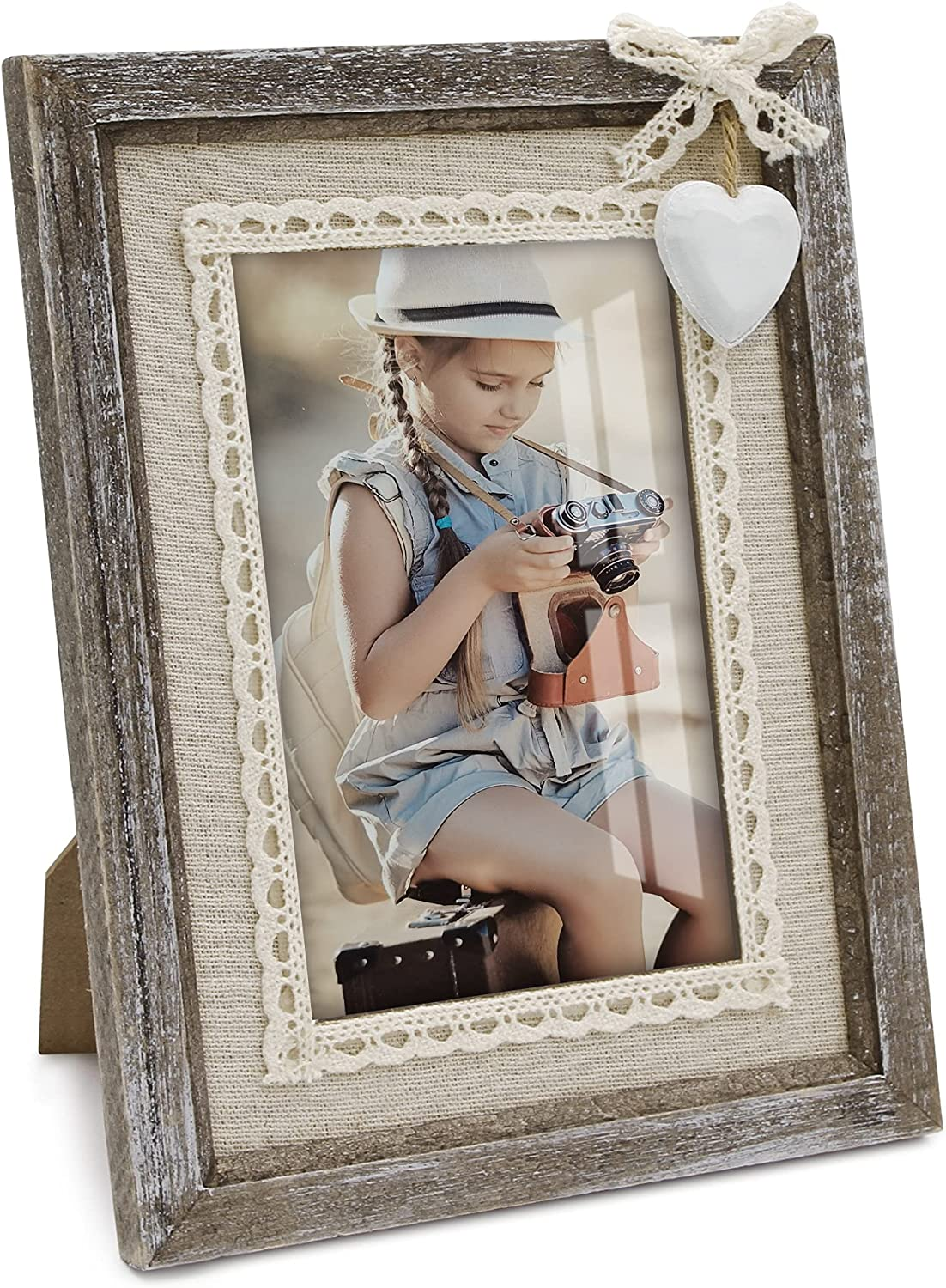 Beitly Art 4x6 Rustic Picture Frames Distressed Wood Cute Heart Love Solid Wooden Photo Frame Set Lace Bow Glass Shabby Chic Boho Wall Decor Hanging Tabletop Family Kids Baby Mom Wedding Gift