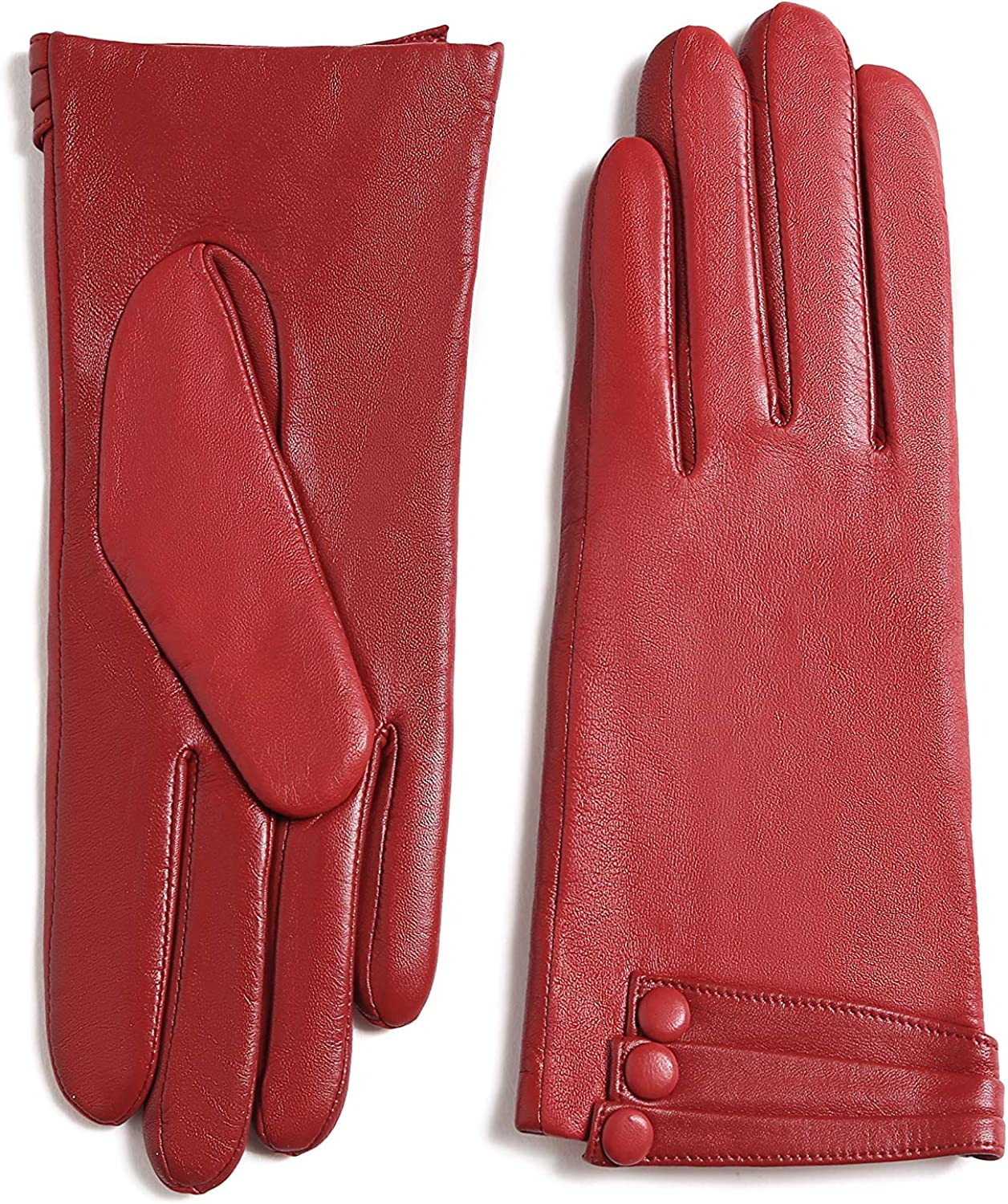 YISEVEN Women's Winter Driving Touchscreen Leather Gloves Wool Lined Buttoned Cuff