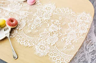 Letjolt White Lace Table Runner Embroidered Lace Fabric Vintage Table Runner Centerpiece for Rustic Chic Wedding Decoration Boho Party Bridal Shower Decor Baby Shower Decorations 14 x 120 Inches