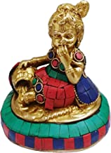 Purpledip Brass Statue Lord Krishna Makhan Chor: Handmade Idol with Gemstones (11430)