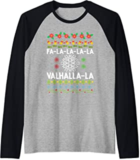 Fa-La-La-La Valhalla-La Viking God Ugly Christmas Raglan Baseball Tee