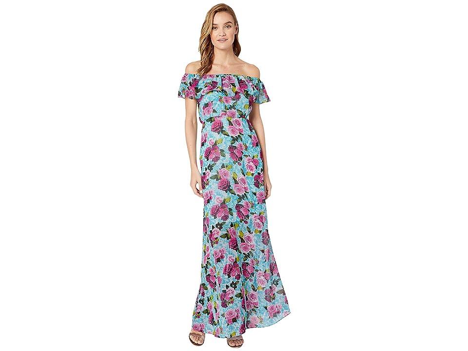 Betsey Johnson Drowning Roses Off the Shoulder Maxi Dress (Malibu Blue Floral) Women
