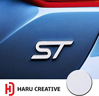 Haru Creative - Front Grille Hood Rear Trunk Emblem Letter Insert Overlay Vinyl Decal Compatible with and Ford Focus ST 2013-2019 - 4D Carbon Fiber White