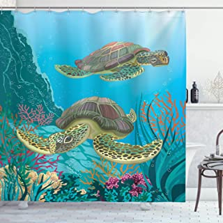 Ambesonne Sea Animals Shower Curtain, Illustration of 2 Sea Turtles Swimming Underwater Aquatic Wildlife Colorful, Cloth Fabric Bathroom Decor Set with Hooks, 84