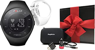 Polar M200 (Black) Running GPS Watch Gift Box Bundle | Includes Extra Silicone Wrist Band, PlayBetter USB Car/Wall Charging Adapters, Protective Hard Carrying Case | Wrist HR | Gift Box, Red Bow