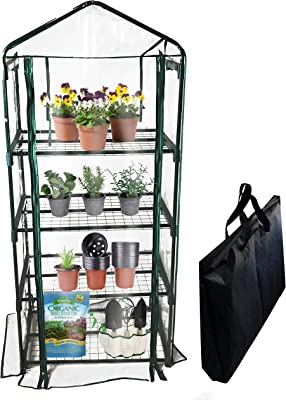 BACKYARD EXPRESSIONS PATIO · HOME · GARDEN 911217 Mini Greenhouse 4-Tier Growing Rack, Portable Carry/Storage Bag, Dark Green