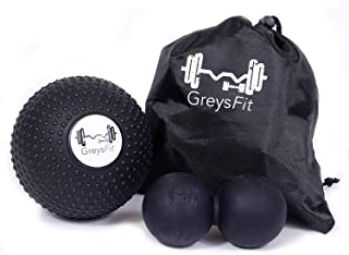 GreysFit Peanut Ball & 5 inch Massage Ball Set - Foam Roller Myofascial Release Balls - Deep Tissue Massager & Mobility Kit - Ideal for Self Massaging & Trigger Point Therapy in Back, Neck & Shoulders