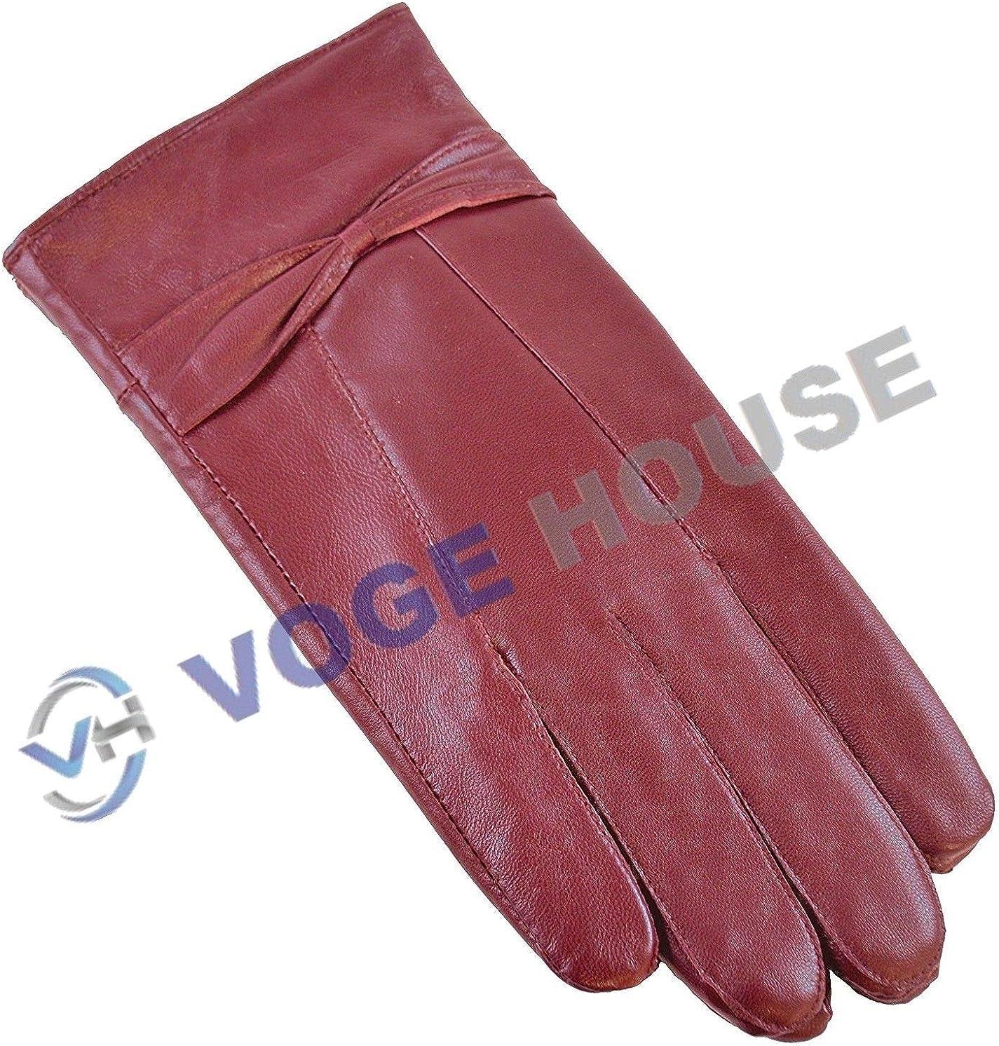 Ladies Soft Sheepskin 100% Leather Driving Gloves Warm Waterproof Bow Design(SM (Small & Medium) Burgundy)