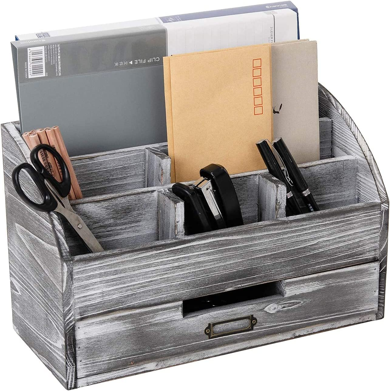 Rustic Wooden Office Desk Organizer 5 Compartment with 2 Drawer &Counter Home Desk Tabletop Desktop Mail Rack ,Storage for Pens Notebooks Folders Pencils and Office Supplies Jewelry storage box (Grey white)