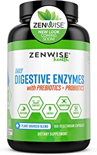Zenwise Health, Daily Digestive Enzymes with Prebiotics and Probiotics, 180 Vegetarian Capsules