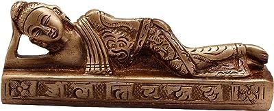 Two Moustaches Brass Buddha Reclining Showpiece, Standard, Brown, 1 Piece