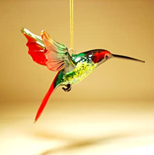 Red, Yellow and Green Glass Hanging Bird Hummingbird Ornament