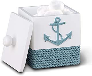 TideAndTales Nautical Bathroom Decor Cotton Box, Cotton Pads Holder | Rope and Anchor Bathroom Decor with Ocean and Sea Theme | Coastal Bathroom Accessories Storage and Organizer