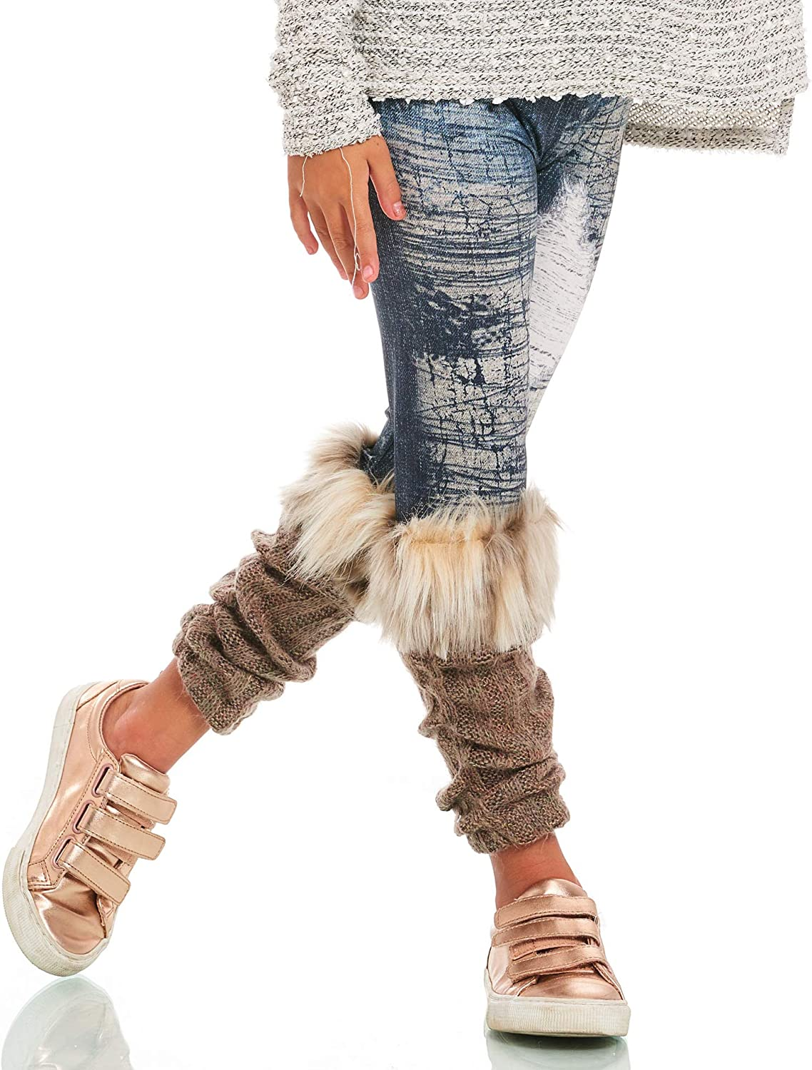 Truly Me Little Girls' Faux Denim Credence Leggings S Dedication Attached with Jean
