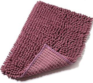 バスマット 足ふきマット 玄関 お風呂 快適 衛生 ふわふわ 丸洗い 無地 吸水 滑り止め bath mat 40×60 パープル えこふれ