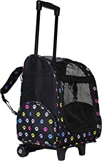 "World Traveler Women's 18"" Rolling Pet Carrier Backpack Convertible-Multi Paws, One Size"