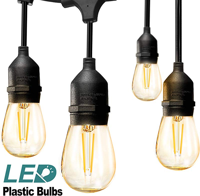 Addlon LED Outdoor String Lights 48FT With 2W Dimmable Edison Vintage Plastic Bulbs And Commercial Great Weatherproof Strand UL Listed Heavy Duty Decorative LED Caf Patio Light Porch Market Light