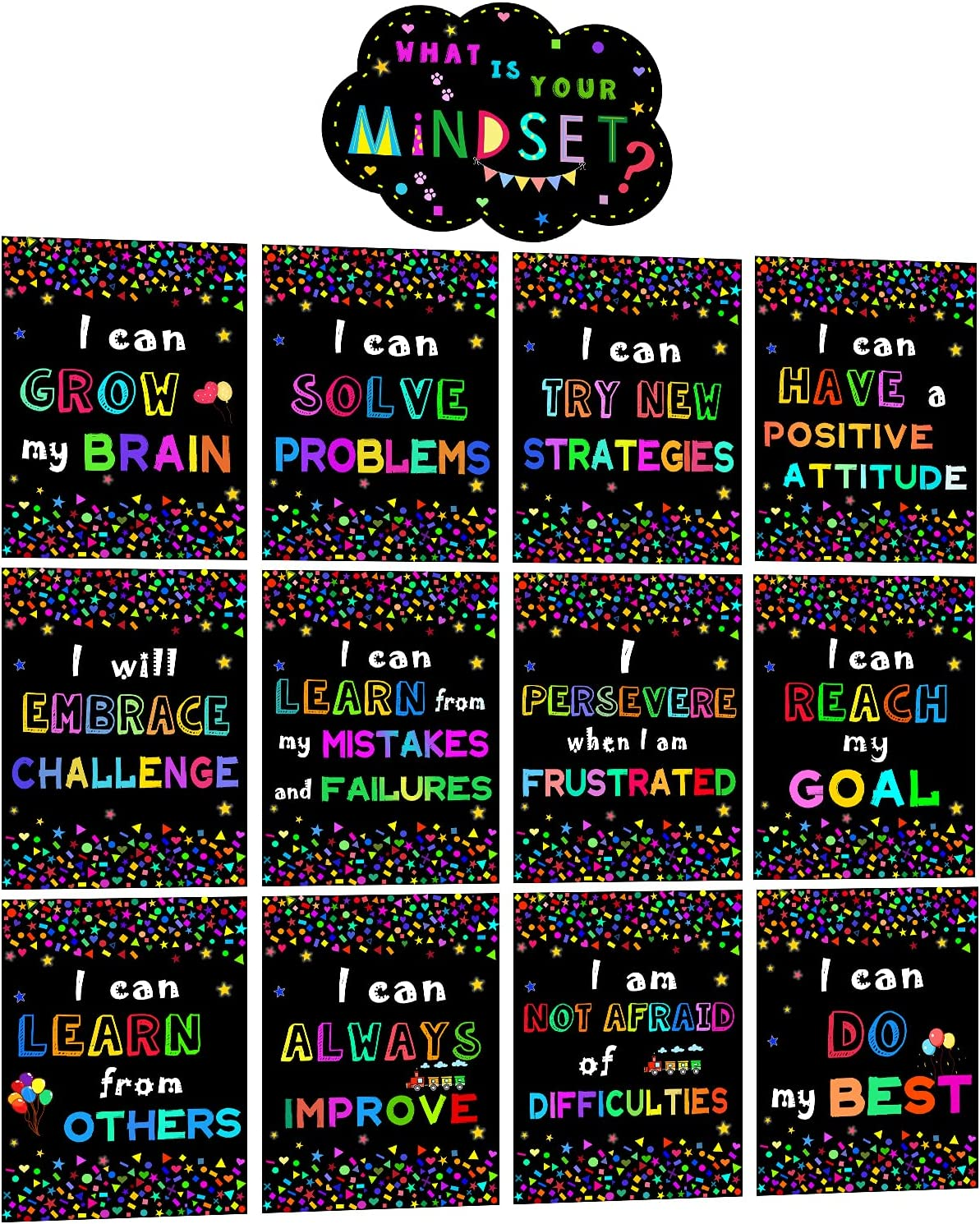 V-Opitos 13 PCS Growth Mindset Posters Ranking TOP18 Classroom Yo is What outlet for