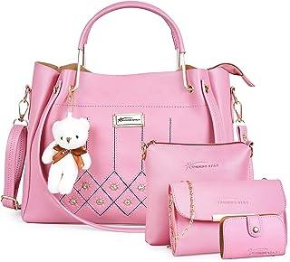 Shining Star Women's Handbag, Sling Bag, Clutch & Card Holder(Set of 4, Peach)