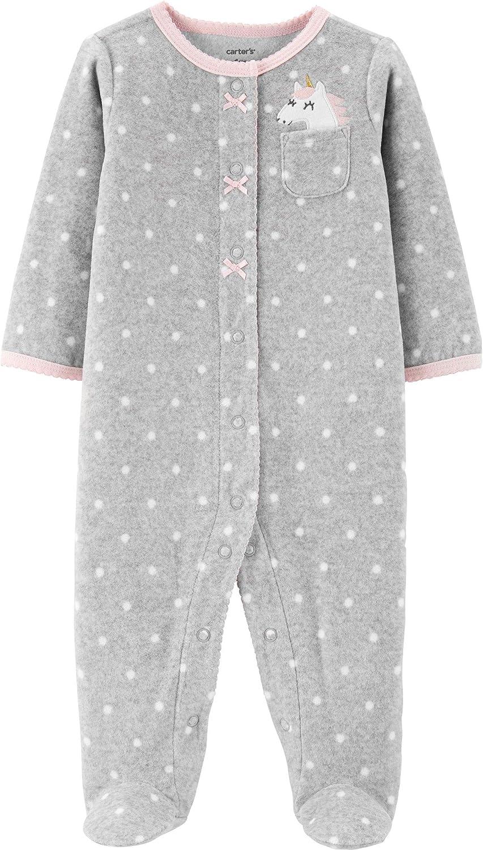 Carter's Baby Girls' 1 Piece Fleece Pajama (Pocket Unicorn/Grey