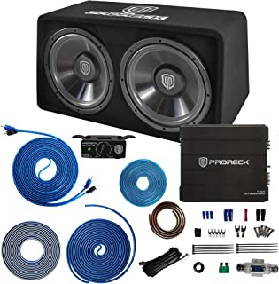 "$199 » PRORECK PR-122M 1500W Dual 12"" Car Subwoofer Enclosure Audio with Subwoofer,Mono Block Amplifier and Wiring Installation Kit"