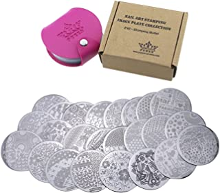 PUEEN Nail Art Stamp Collection Set 24B - STAMPING BUFFET - NEW INVENTION Set of 24 All You Can Stamp Full Size Stamping Image Plates Manicure DIY (Infinite Images With Your Creativity) Now with BONUS Storage Case-BH000017