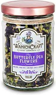 WanichCraft Organic Dried Butterfly Pea Flower Tea Blue Tea Flower for Cocktail Martini 0.7 Oz.