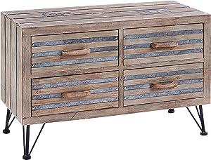 ts-ideen Mobiletto Cassettiera porta Televisore stile Shabby Industriale effetto legno invecchiato 4 cassetti