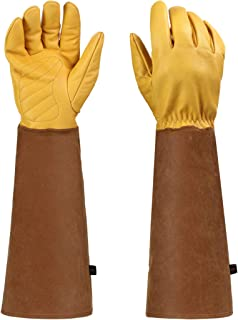 Rose Pruning Gloves,Gardening Gloves Thorn Proof Long Sleeve for Men & Women,Breathable Sheepskin Leather Gauntlet
