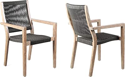 Amazon Com Armen Living Lcmasicheu Madsen Outdoor Dining Chairs Finish With Rope Set O 18 Seat Height Charcoal Teak Garden Outdoor