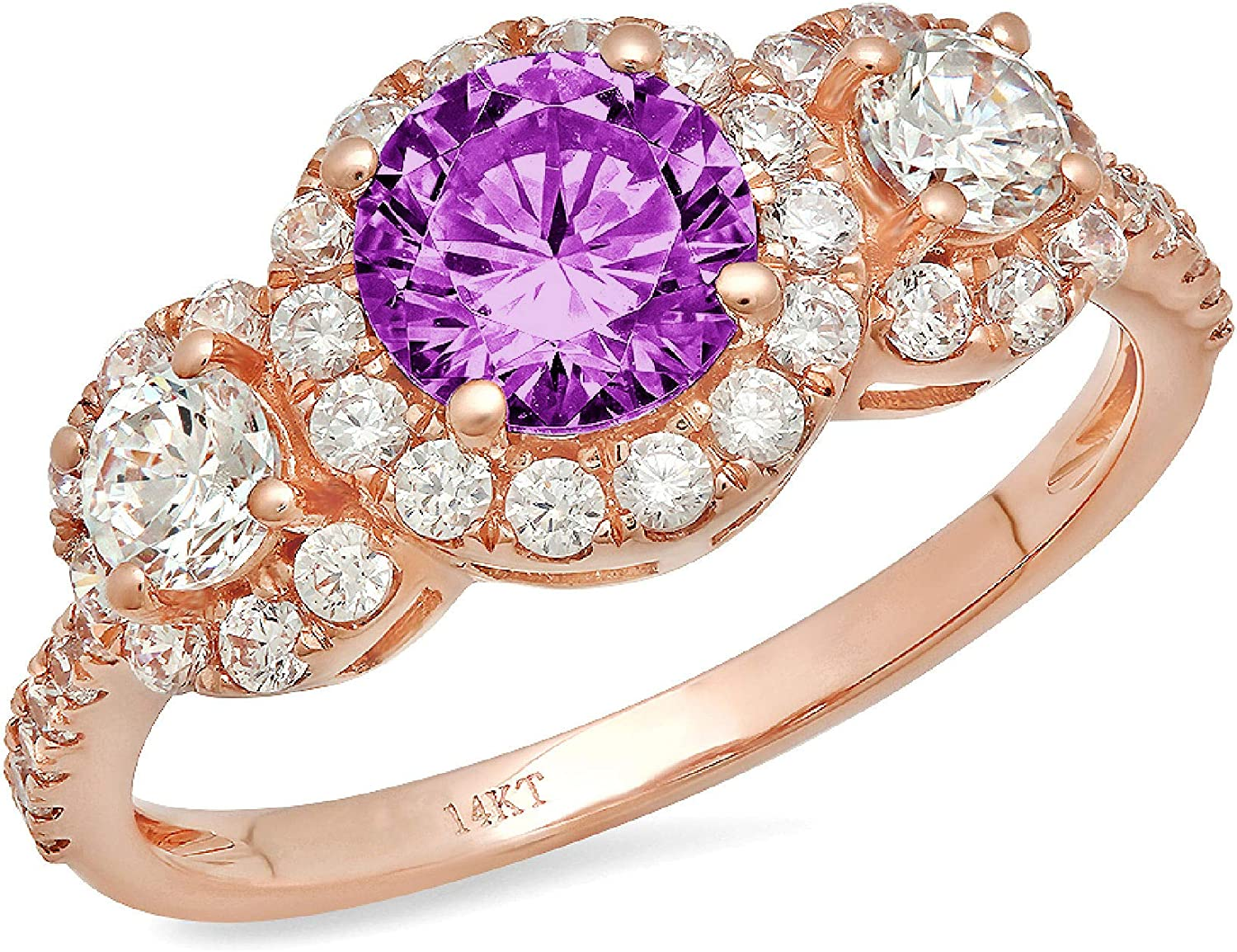 1.8 ct Round Cut Halo Solitaire 3 stone With Accent Stunning Genuine Flawless Simulated Purple Alexandrite Modern Promise Statement Designer Ring 14k Rose Gold