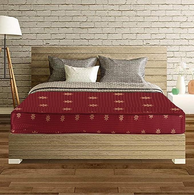 SLEEPSPA Cotton Back Support Orthopaedic Single Size Coir Mattress  Maroon, 4 inch  Mattresses   Box Springs