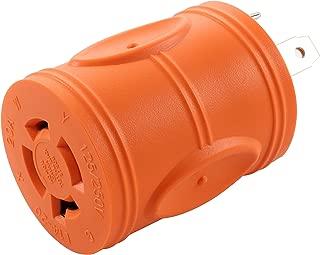 AC WORKS [ADTTL1420] Generator Locking Adapter RV 30Amp TT-30P Plug to 20-Amp 125/250-Volt L14-20R Female (Two Hots bridged)