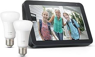 Echo Show 8 - Tessuto antracite +Lampadine intelligenti a LED Philips Hue White, confezione da 2 lampadine, compatibili c...