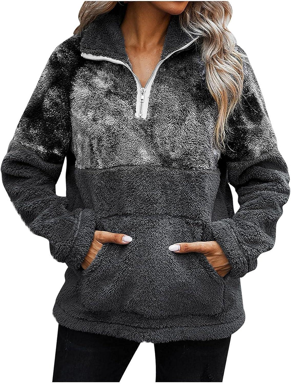 Womens Fuzzy Sweatshirt Hooded Plus Size Blouse Tops Long Sleeve Pockets Pullover Coat Tie-Dye Zip Outerwear for Teen Girls