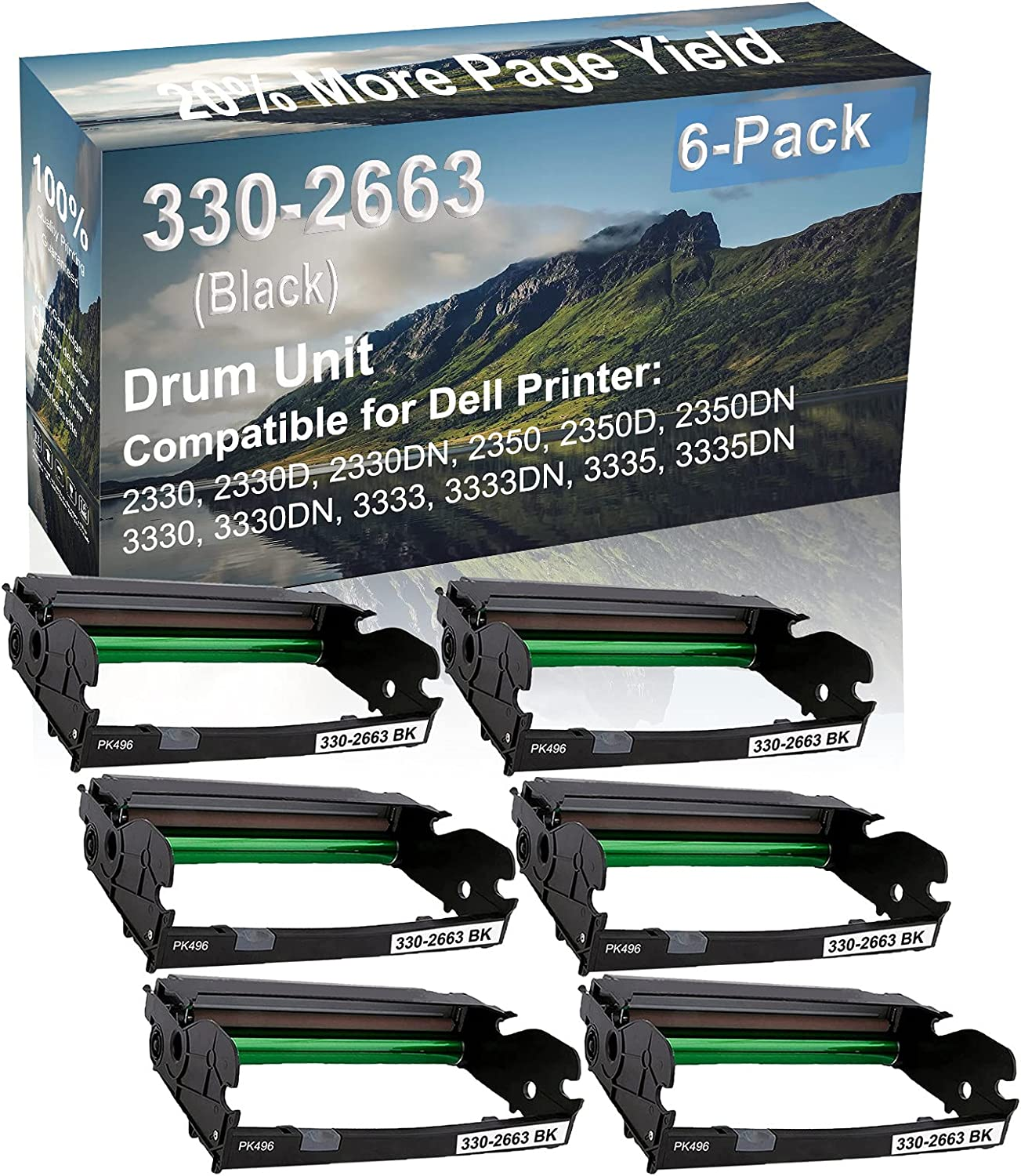 6-Pack Compatible Drum Unit (Black) Replacement for Dell 330-2663 PK496 Drum Kit use for Dell 3333, 3333DN, 3335, 3335DN Printer
